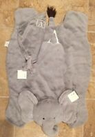 2pc Pottery Barn Kids Baby Elephant Plush Play Mat Gray Monogram v