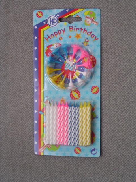 Birthday-Tortenkerzen weiß gestreift m.12 Halterungen 0,4x5,5cm 24er Set