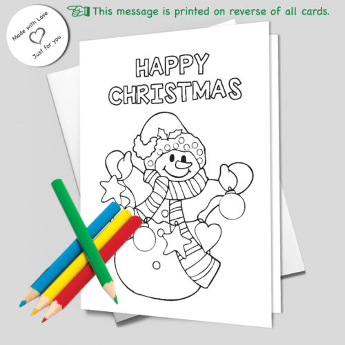CHRISTMAS CARDS colour your own Pack of 10 2 of each design with white envelopes