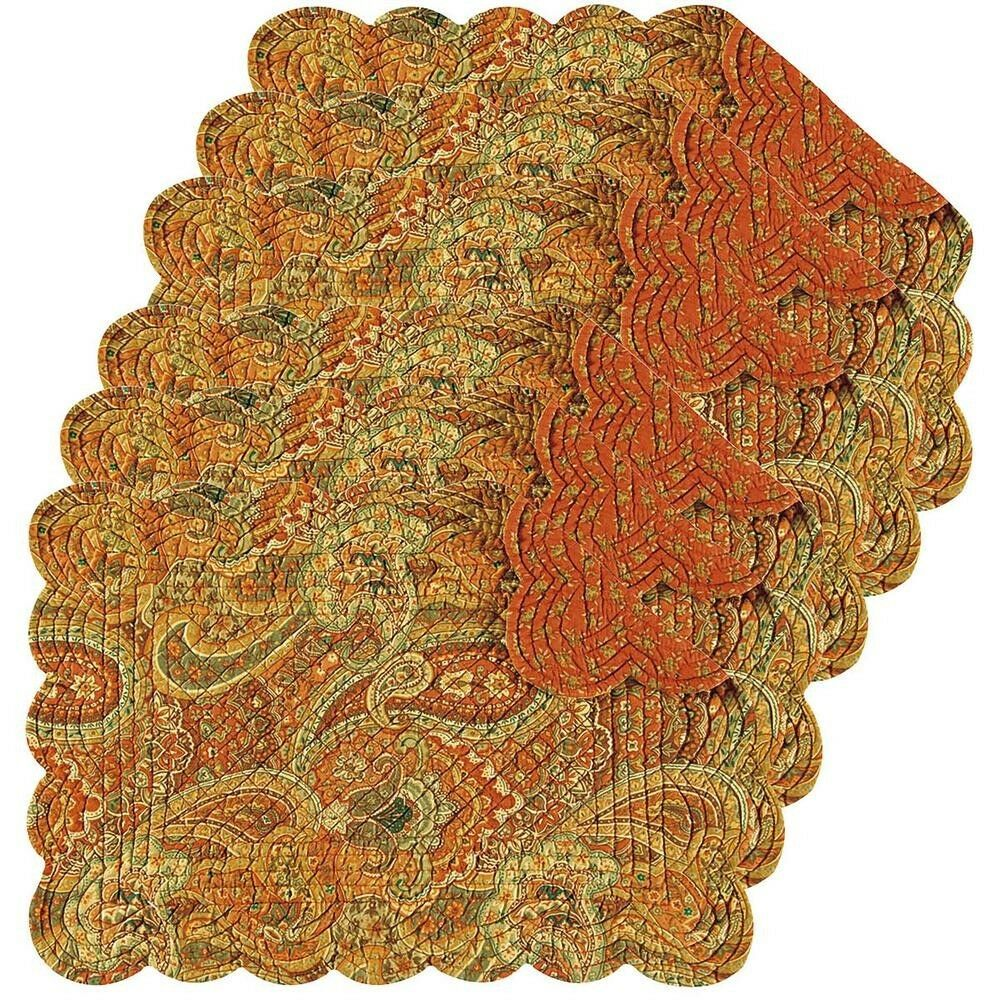 Table Placemat 6 Piece Orange Cotton Quilted Scallop Edge Rectangle Reversible