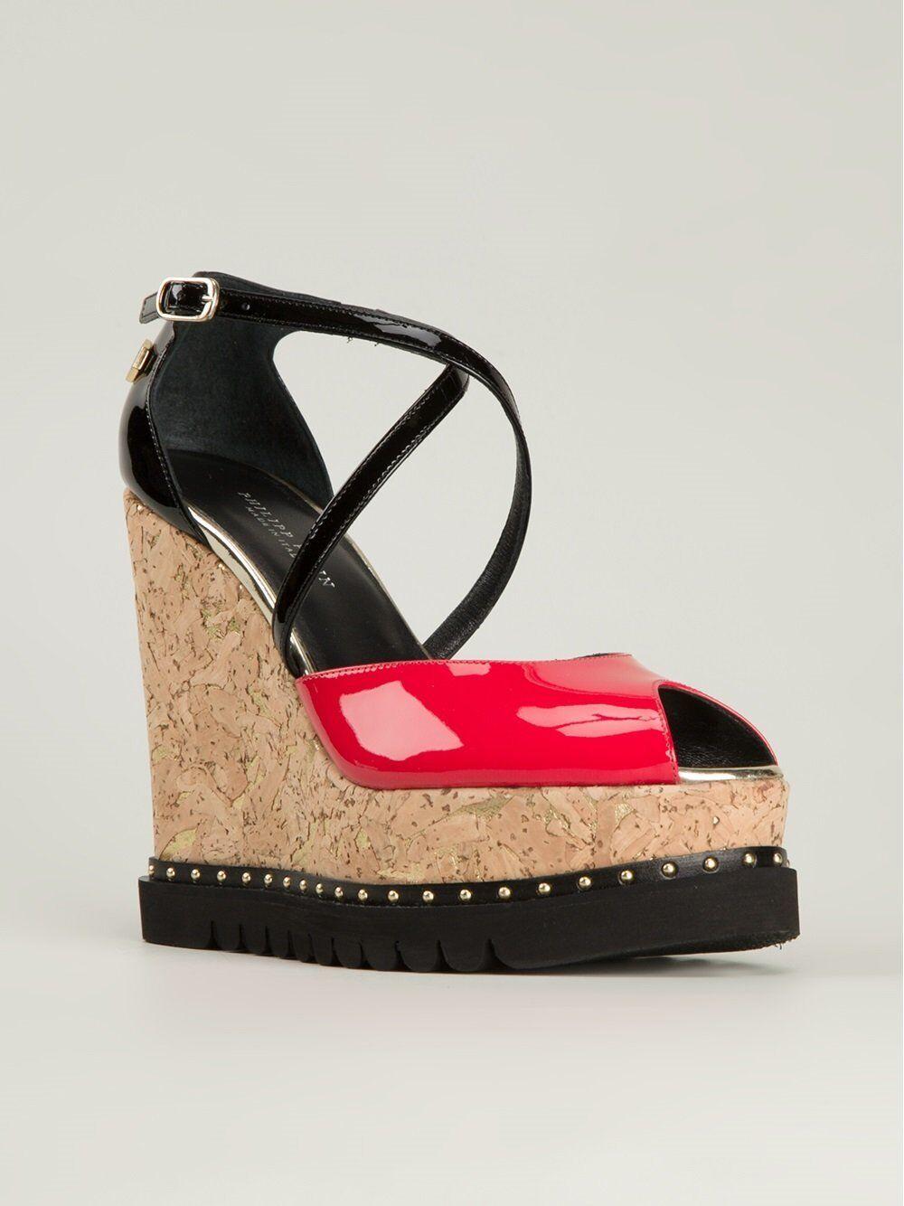 Philipp PLEIN donna tronchetti Strap Wedge Philipp Plein platform zeppe sandals RED