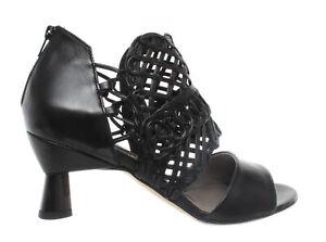 Silene Zip Leather Women's Shoes Heel Ixos Black Sandalo Sandals jSRLc4Aq35