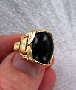 Black-Onyx-Gemstone-Ring-in-14kt-Rolled-Gold-Wire-Wrapped-Size-5-to-15