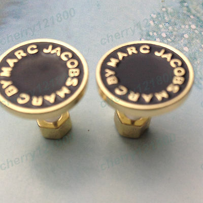 New Gold&Black Fahsion circular Marc by M Jacobs Letters Disc Stud Earrings