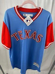 Majestic MLB Baseball Cool Base Texas Rangers Throwback Jersey Powder Blue Large