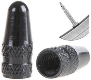 PRESKIN-Presta-Fahrrad-Ventilkappen-schwarz-aus-Alu-Valve-Caps-Black-Metall