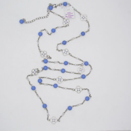 "41/"" lia sophia jewelry long necklace silver tone chain blue white enamel flowers"