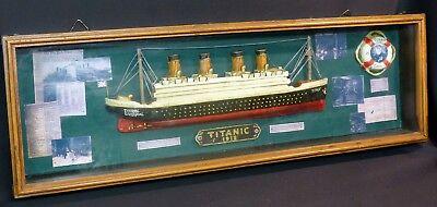 C Rare Maquette Demi Bloc Half Block Titanic 1912 Marine Bateau 75cm Documents Door Wetenschappelijk Proces