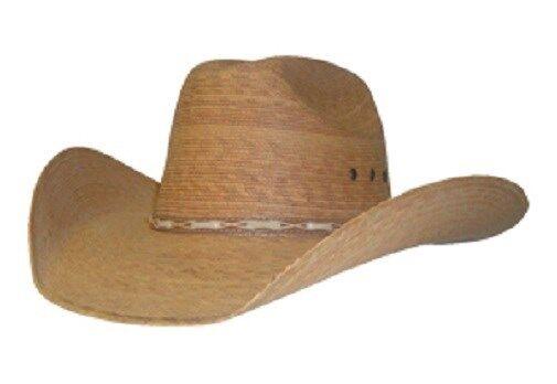 35-P  Toasted COWBOY HAT ~Western PALM LEAF Straw~ Leather Hatband - Cattleman