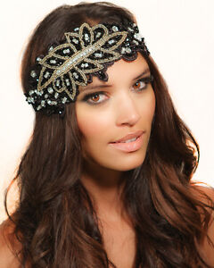Kristin Perry 1920/'s Great Gatsby Inspired Art Deco Crystal Chain Headpiece