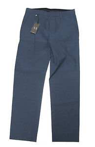 New-Armani-Exchange-A-X-A-X-Mens-Blue-Seersucker-Slim-Flat-Casual-Chino-Pants