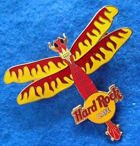 Online-Rojo-y-Amarillo-Flames-Libelula-Insecto-Serie-Guitarra-Hard-Rock-Cafe-Pin
