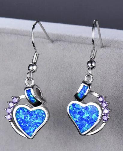 Amethyst Blue Opal Dangle Earrings Sterling Silver//Stainless Steel 1 Inch Drop