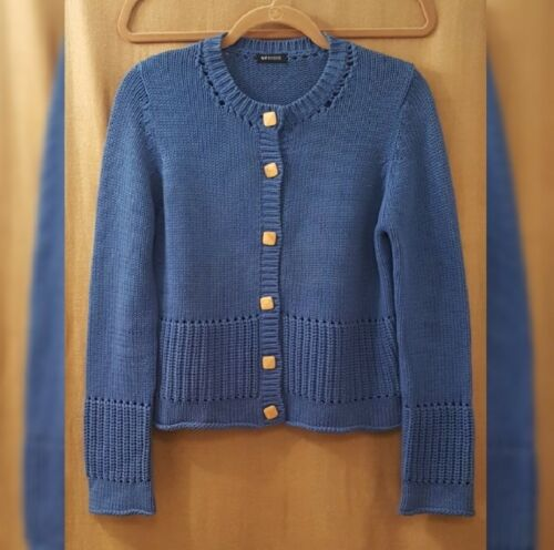 NYBased gorgeous blue sweater or cardigan with squ