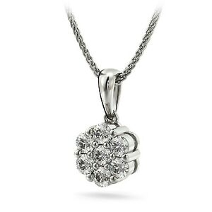 18Carat-White-Gold-Diamond-Daisy-Cluster-Pendant-0-50cts-on-16-034-Chain-Necklace