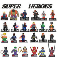 24 Minifigure Toy Super Heroes Wolverine Superman Hulk Batman Building Toys