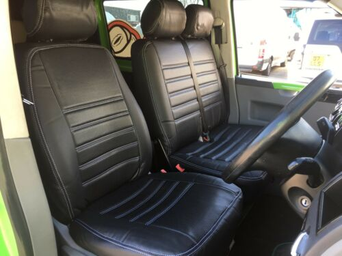 T5 2+1 Rear Seat Covers REDUCED * Black With White Stitching