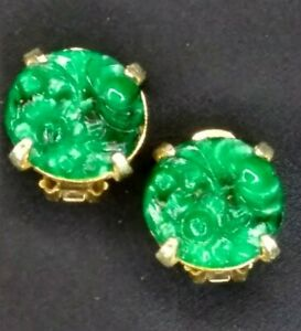 Vintage Denicola Earrings Gold Plate Faux Carved Jade Round Clip On Ornate 1960s