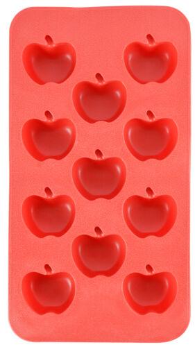 Apple Shape Flexible 11 Ice Cube Tray Mold Yellow Silicone Novelty Fruit Gift