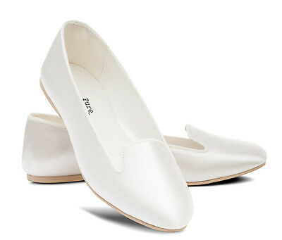 Ivory Bridesmaids Flower Girl Wedding Bridal Pumps Flats Shoes All Sizes LILY