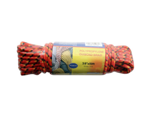 Strong 9.5 mm x 15M 50FT Polypropylene Diamond Braid Multi Purpose Rope 355 RED