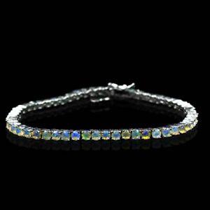 925 Sterling Silver 4 mm Round Natural Ethiopian Opal Gemstone Tennis Bracelet
