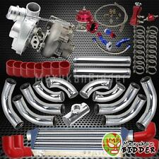 T0E4 T3/T4 .63 AR Upgrade Intercooler V-Band Turbo Charger Kit w/Couplers Red