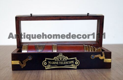 Details about  /Antique Brass Nautical Victorian London 1917 Telescope Handmade Wooden Box Gift