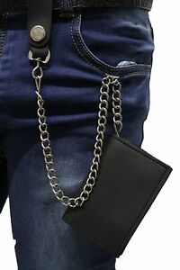 Men Silver Metal Wallet Chains KeyChain Jeans Fashion Black Trifold Faux Leather
