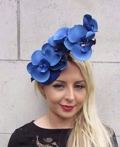 Royal Blue Orchid Flower Fascinator Hat Races Wedding Clip Elastic Hair 3414
