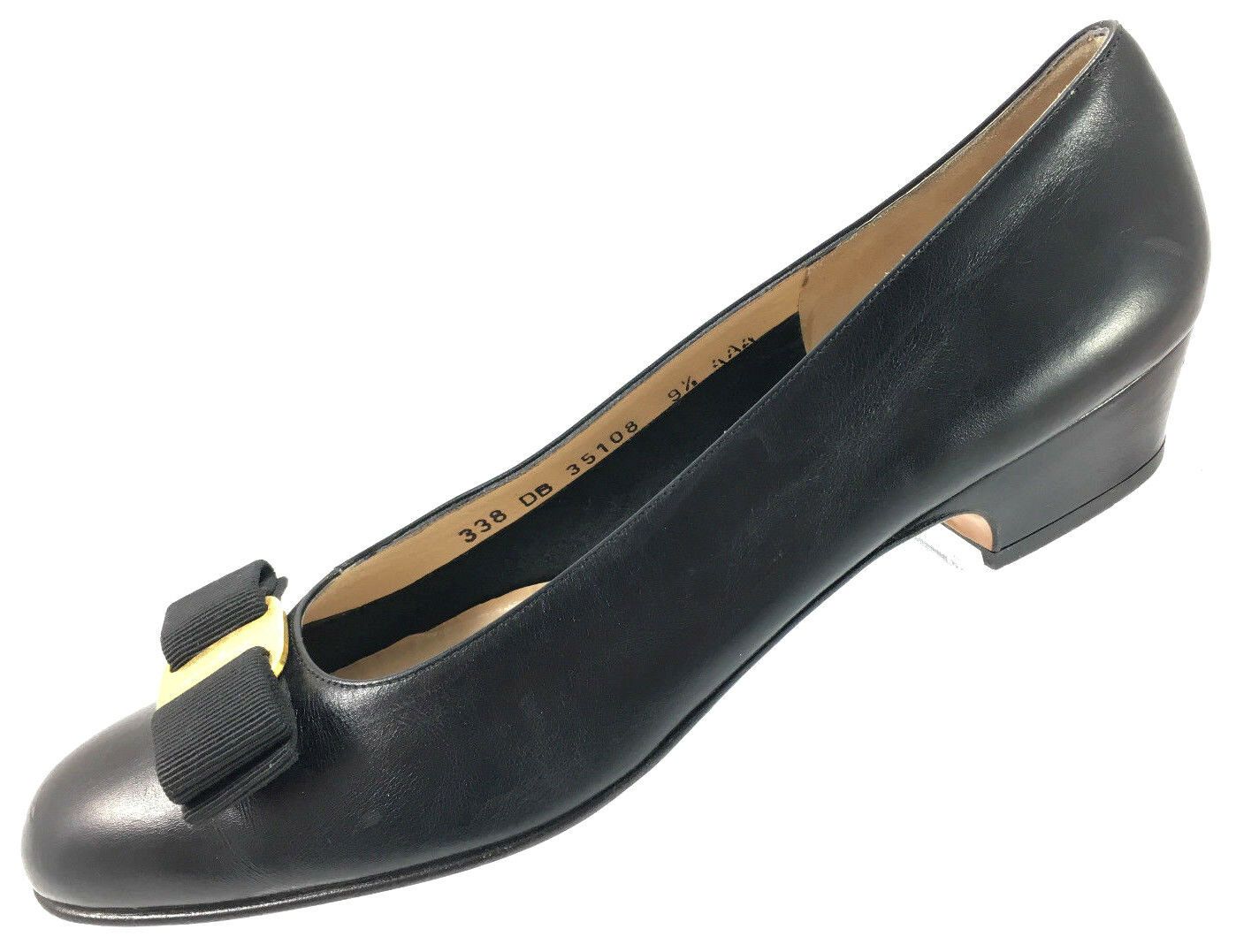 SH3 Salvatore Ferragamo 9.5AAA  Varina Black Leather Bow Block Heel Pumps