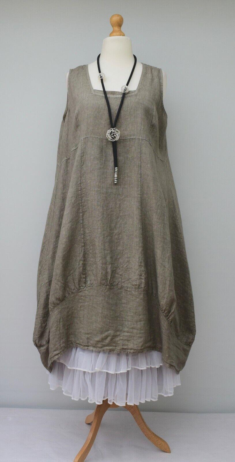 Übergröße Leinen Einfarbig 2 Taschen Langes Kleid  Taupe  XL-XXL 52-54