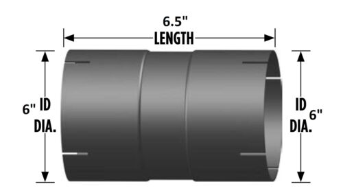 """Coupler for Exhaust Pipe 6.5/"""" Length 6/"""" I.D"""