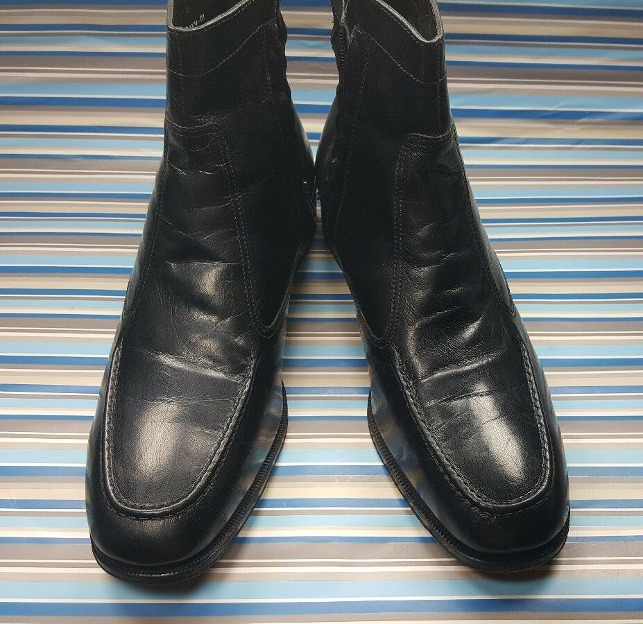 Florsheim Zip Ankle Boots Size 13 Mens Black Leather