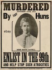 WW1 RECRUITING POSTER EDITH CAVELL MURDERED ENLIST IN 99TH NEW A4 PRINT ESSEX
