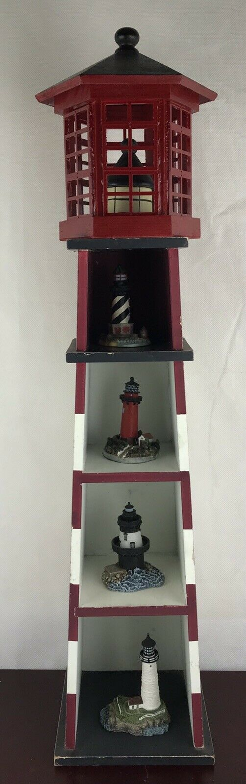 Vintage House Light Wooden Shelf Decor With 4 Different Little Light Houses