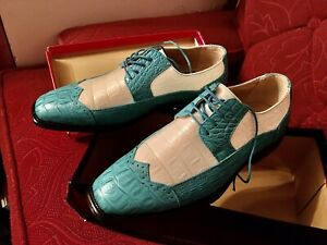Pair Bolono Style P4872-025 Turquoise White Alligator Wingtip Shoes, Size 8