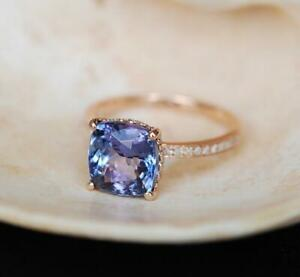 2-50Ct-Cushion-Cut-Tanzanite-Wedding-Engagement-Ring-14k-Rose-Gold-Finish
