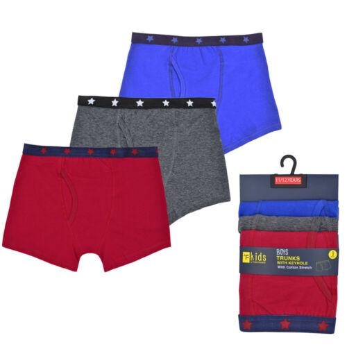 Kids Boys Boxers Keyhole Plain Printed Trunks Pants Underwear Underpants Cotton