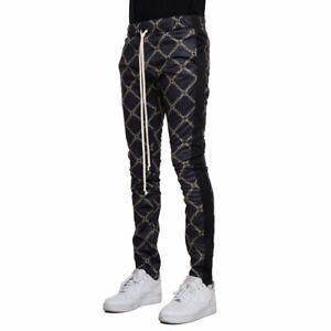 EPTM-Men-039-s-Techno-Side-Zipper-Long-Drawstring-Black-Monogram-Track-Pants