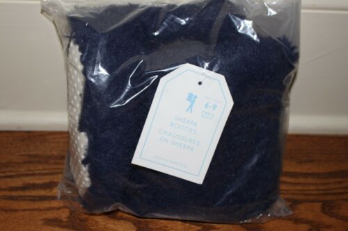 NWT Pottery Barn Kids Sherpa slippers navy sz small sm 6-9 7 8 booties