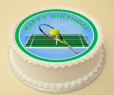 Excellent Tennis Happy Birthday Cake Cupcake Topper Decoration Wafer Paper Personalised Birthday Cards Veneteletsinfo