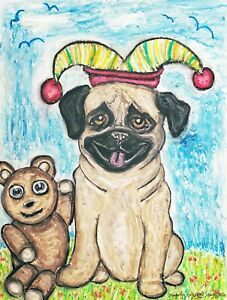 Jester-Pug-Collectible-Original-Pastel-Painting-9x12-Dog-Pop-Art-by-Artist-KSams