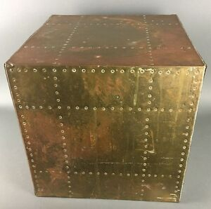 Vintage-Hollywood-Regency-Sarreid-Studded-Brass-Cube-Table-Eames-Era