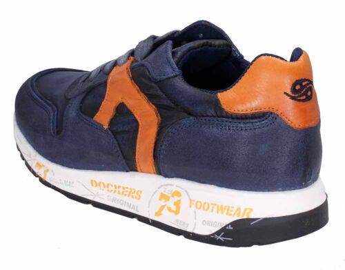 Dockers by Gerli Schnür Sneaker 40BR001-207669 blau orange navy//mult Leder NEU