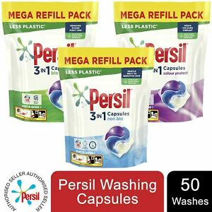 3 Pack Persil 3in1 Capsules Bio/NonBio/Colour, 50 Washes - Total 150 Washes
