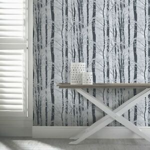 ARTHOUSE-Frosted-Wood-Forest-Pattern-Trees-Glitter-Wallpaper-670200-Silver