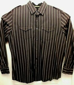 Banana Republic Homme Slim 17-17.5 XL manches longues rayé robe chemise (B3009)