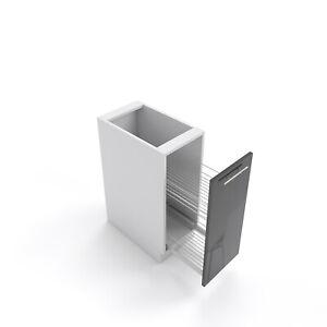 Küchenschrank mit Cargo Korb Schwarz hochglanz 15-60 cm ...