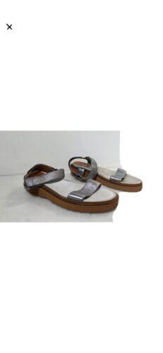 Aquatalia Silver Metallic Leather Strappy Sandals